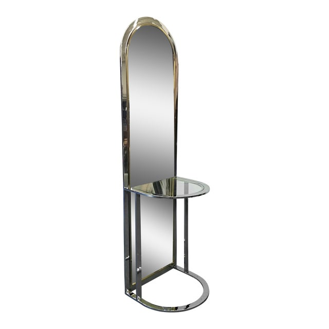 Mid Century Modern Chrome and Brass Standing Floor Dressing Mirror ...