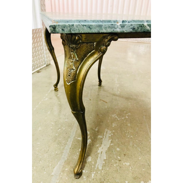 Green French Louis XV Style Petite Cast Brass Table With Verde Antico Marble Top For Sale - Image 8 of 9