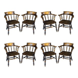 Set of Eight English Bow Armchairs For Sale
