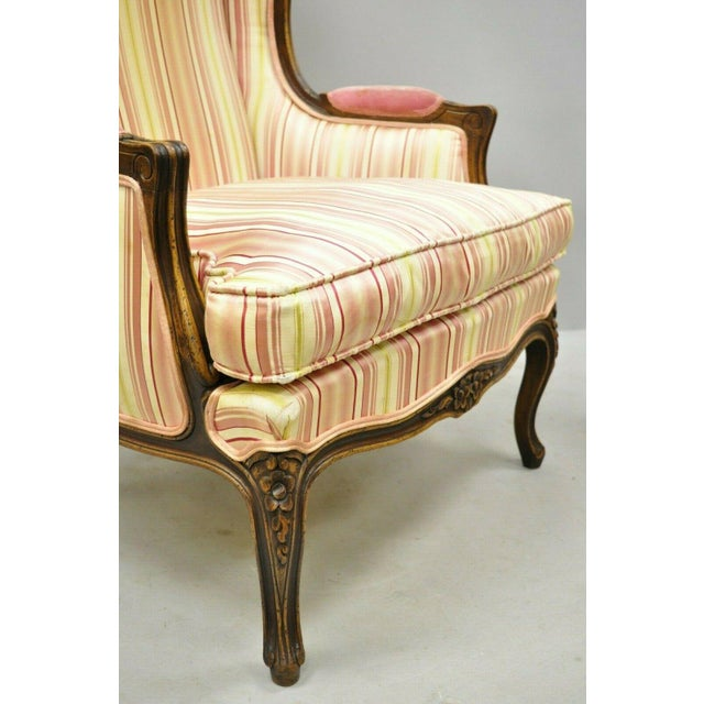 Red Vintage Mid Century French Louis XV Style Wingback Bergere Armchairs - A Pair For Sale - Image 8 of 12