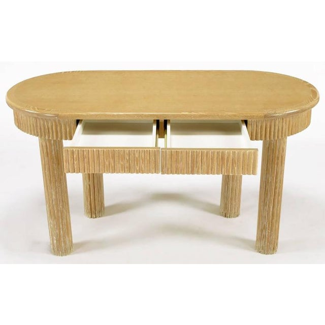 Custom Oval Cerused Oak Writing Desk with Reeded Legs and Apron - Image 4 of 8