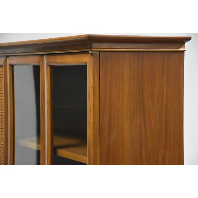 1960s Walnut and Cane Mid Century Bookcase For Sale - Image 5 of 11