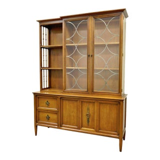 Vintage Mid Century Modern Century Furniture Walnut China Cabinet Bookcase For Sale