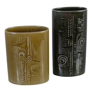 Vintage Mid Century Modern Olle Alberius for Rorstrand Lummer Vases- A Pair For Sale