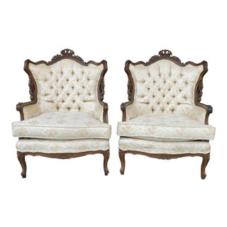 Vintage French Provincial Ivory Gold Brocade Lounge Chairs - a Pair For Sale