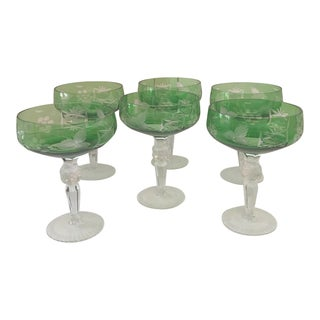 Echt Bleikristall Green Crystal Coupes - Set 6