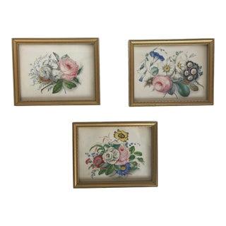 Vintage Mid-Century Framed Floral Botanical Prints - Set of 3 For Sale