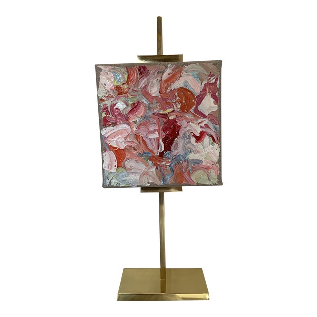 Abstract Oil Painting on Gold Adjustable Easel For Sale