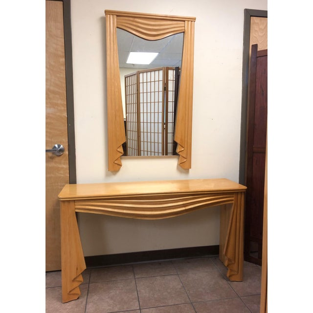 Tan Hollywood Regency Console and Matching Mirror For Sale - Image 8 of 8
