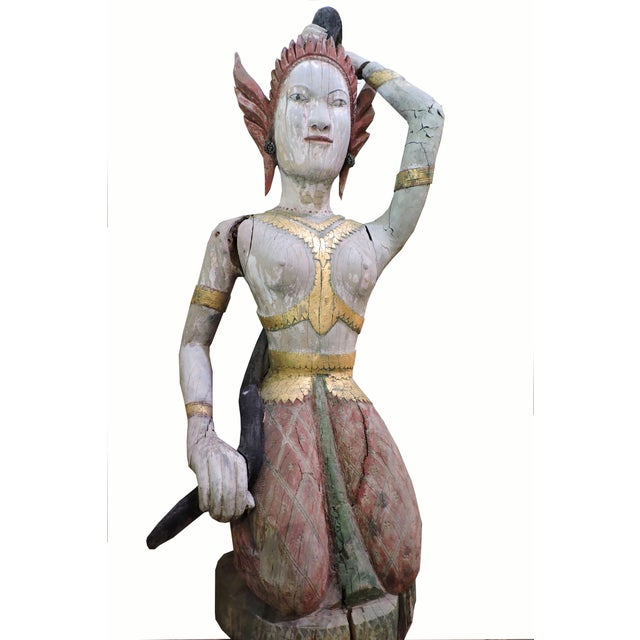 Paint Carved Wooden Statue of Phra Mae Therani, the Thai Earth Mother Goddess Wringing the Cool Waters of Detachment Out of Her Hair For Sale - Image 7 of 7