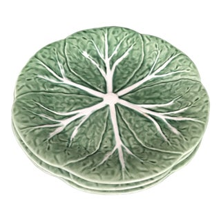 Majolica Bordallo Pinheiro Green Cabbage Plates - Set of 3 For Sale