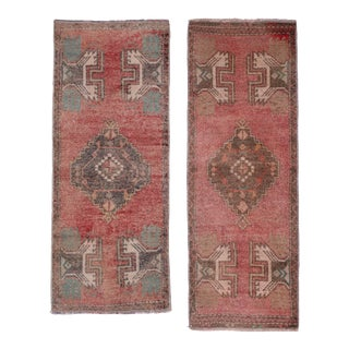 "Distressed Turkish Small Rug - Set of Two 1'6"" X 3'7"" For Sale"