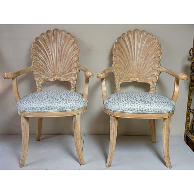 Pair of Shell Backed Chairs in Leopard Upholstery For Sale - Image 11 of 12