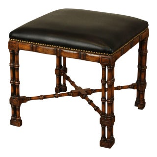Chippendale Style Faux Bamboo Square Bench with Black Leather For Sale