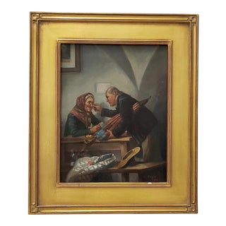 """Late 19th Century Oil Painting """"Peeling Apples"""" by Crisson C.1899 For Sale"""