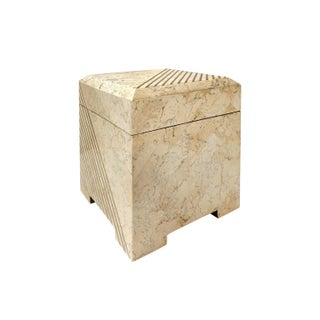 Square Maitland Smith Tessellated Stone Box With Brass Inlay Preview