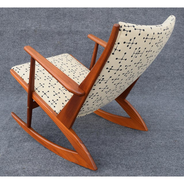 Brown Vintage Georg Jensen for Kubus Danish Mid-Century Boomerang Teak Rocking Chair For Sale - Image 8 of 11