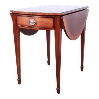 Ethan Allen Georgian Style Banded Mahogany Pembroke Side Table For Sale