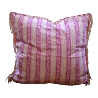 "Shabby Chic Pink Paisley Batik Pillow - 16x16"" For Sale"