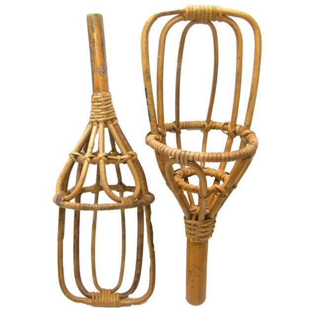 All the rage in the 1960's, these Takraw bamboo / rattan scoops were used for a backyard version of the Basque game, Jai...