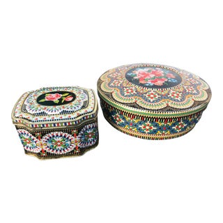 1960s Vintage Tin Containers - A Pair For Sale