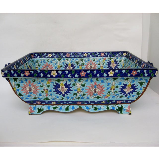Longwy Ceramic Jardiniere For Sale - Image 11 of 11