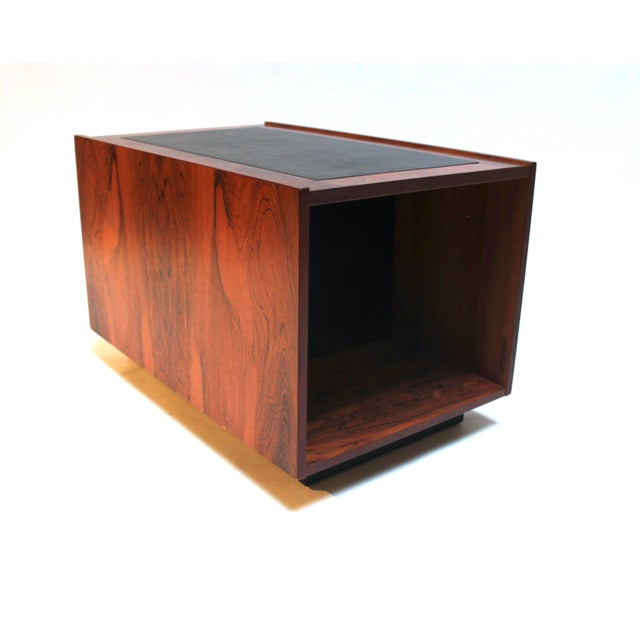 1960s Bornholm Danish Rosewood & Leather Storage Side Tables- a Pair For Sale In Sacramento - Image 6 of 11