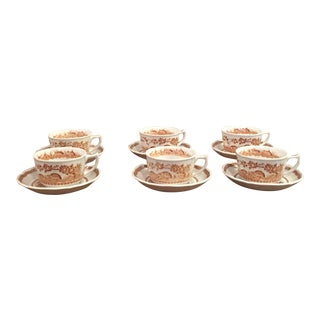 Furnivals Quail 1913 English Teacups and Saucers - 6 Sets