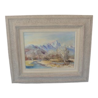 Vintage Impressionist Landscape Oil on Board Painting of Mountains