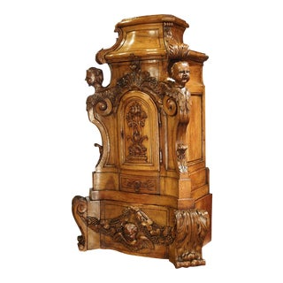 Rare Large Scale 17th Century Oak Sacristy Cabinet From France For Sale