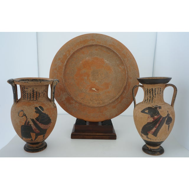 1930s Vintage 1930s Ancient Greek Painted Terra Cotta Garniture - Charger Plate and Two Vases For Sale - Image 5 of 13