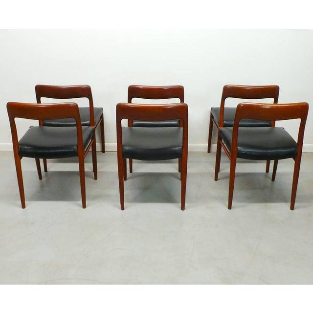 1960s 1960s Vintage J.L. Moller Danish Modern Black Dining Chairs- Set of 6 For Sale - Image 5 of 9
