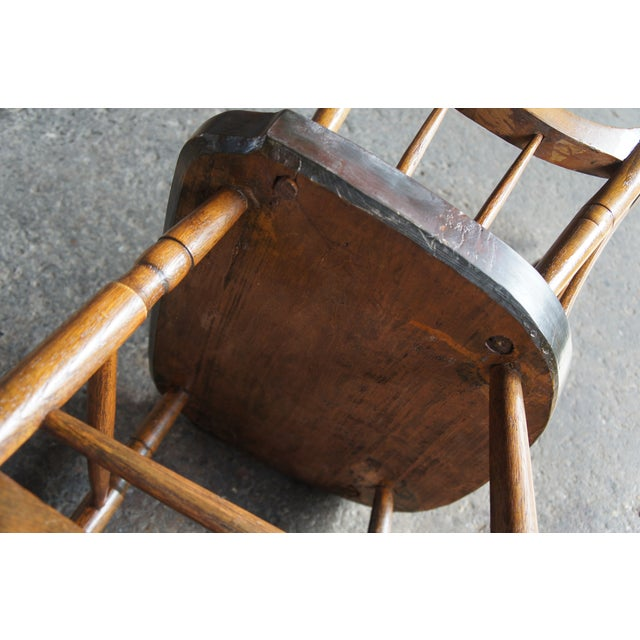 19th Century Antique Chestnut Windsor Comb Back Rocking Chair For Sale - Image 9 of 13