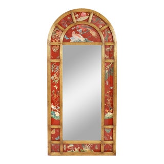 Late 20th Century Wood Framed Floor Length Beveled Mirror For Sale