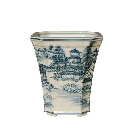 2010s Blue & White Chinoiserie Porcelain Cachepot Planter For Sale - Image 5 of 5
