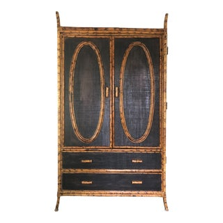 Antique British Colonial Grass Cloth and Burnt Bamboo Wardrobe For Sale