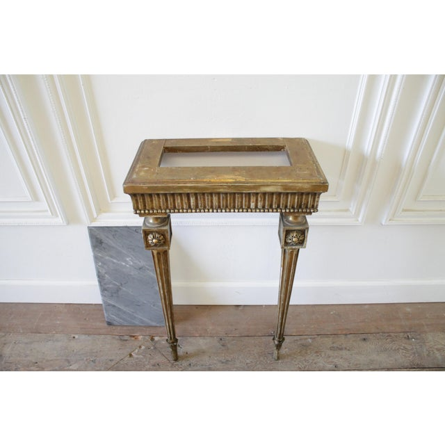 20th Century Louis XVI Style Petite Giltwood Wall Console Table With Stone Top For Sale - Image 10 of 10