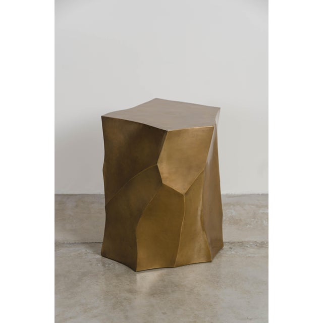 Bamboo Shaven Side Table - Brass by Robert Kuo, Hand Repoussé, Limited Edition For Sale In Los Angeles - Image 6 of 6