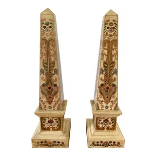 Painted Obelisks - a Pair For Sale