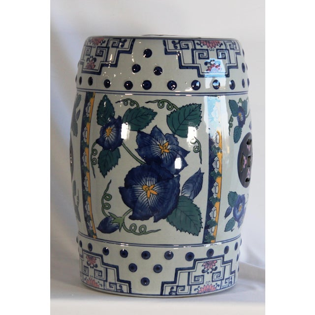 Ceramic Modern Contemporary Blue & White Floral Porcelain Garden Stool For Sale - Image 7 of 7