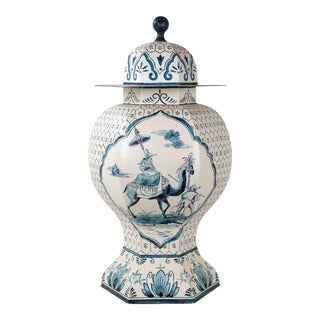 Vintage Italian Chinoiserie Inspired Blue White Hand Painted Temple Jar For Sale