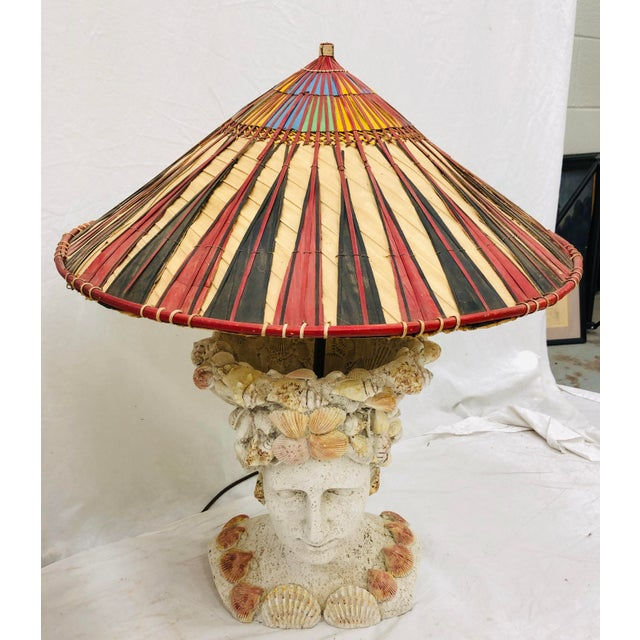 Boho Chic Pair Vintage Seashell Covered Bust Sculptural Lamps For Sale - Image 3 of 13