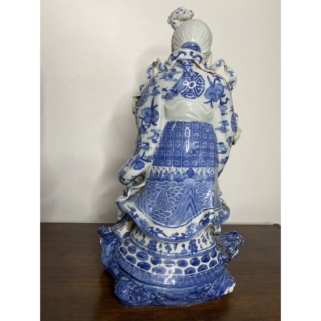 Vintage Chinese Blue & White Figures - Set of 2 For Sale - Image 10 of 13