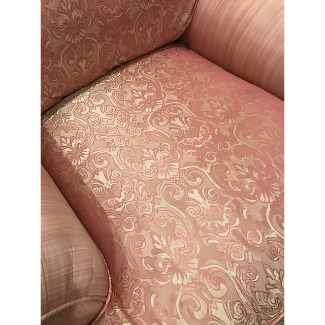 Vintage Mid Century French Silk Damask Swivel Chair For Sale - Image 4 of 13