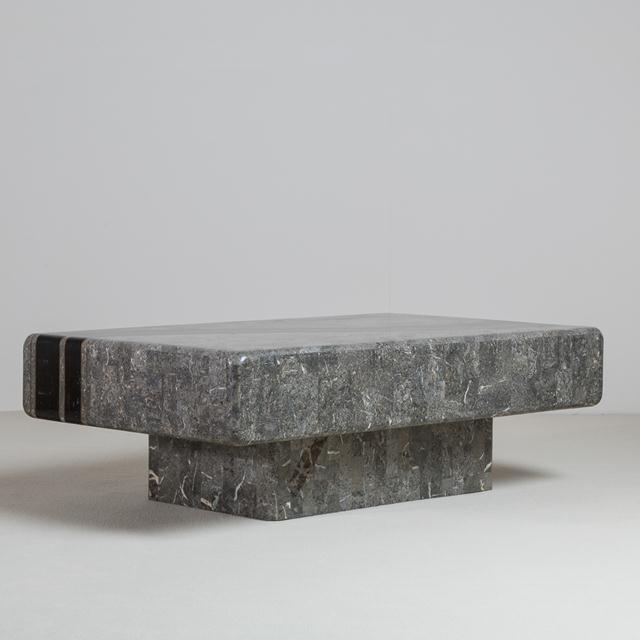 A Charcoal and Black Tessellated Stone Veneered Coffee Table by Maitland Smith 1980s NB: These items are subject to a...