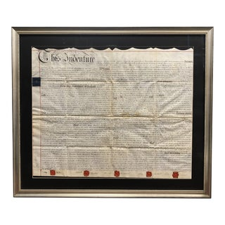 Early 19th Century British Land Deed, Framed For Sale