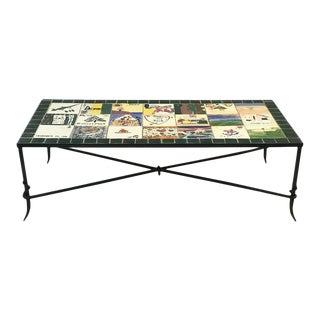 Ceramic Hand Painted Tile Top Coffee Table