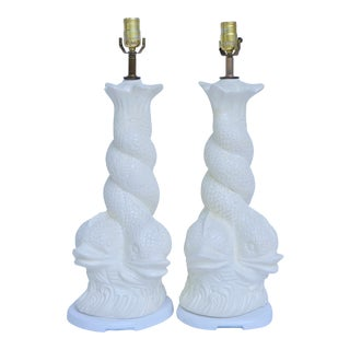 Hollywood Regency Brighton Dolphin Plaster Lamps For Sale