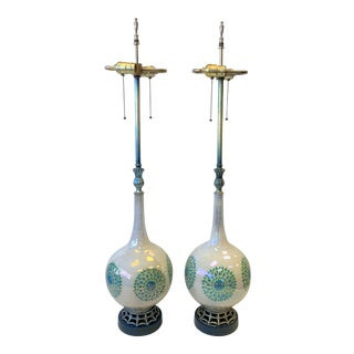 Vintage Mid-Century Modern Reverse Painted Glass Teardrop Table Lamps - a Pair For Sale