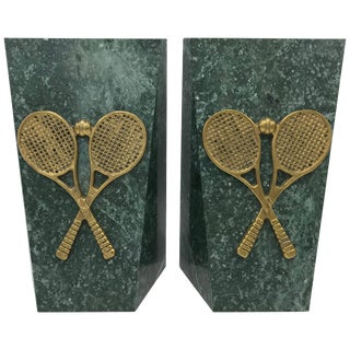 1970s Italian Marble Bookends With Brass Tennis Racket Motif, Pair For Sale